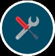 illustration av skruvmejsel och skiftnyckel